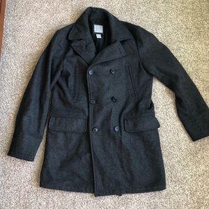 Gap Wool Pea Coat Charcoal Grey Size M